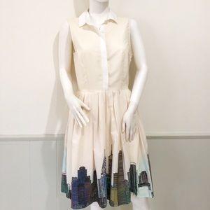 Eshakti cityscape sleeveless collared dress
